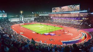 Artist conception of track and field venue at L.A. Memorial Coliseum at 2024 Olympics. Image via la24.org
