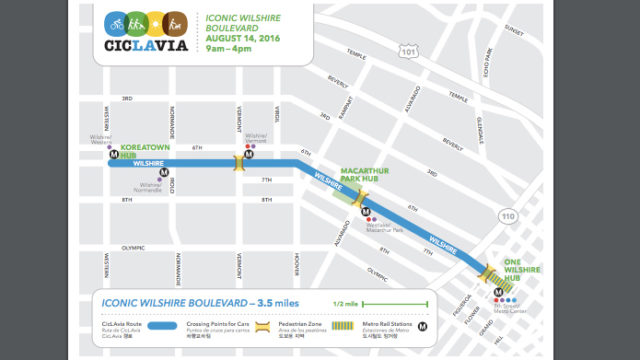 CicLAvia route map.