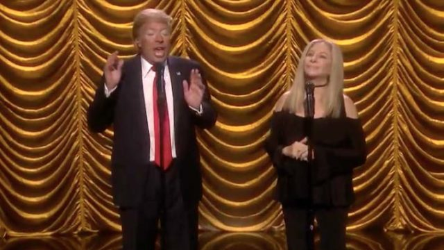 """Jimmy Fallon (as Donald Trump) sings """"Anything You Can Do"""" with Barbra Streisand. Image via YouTube.com"""