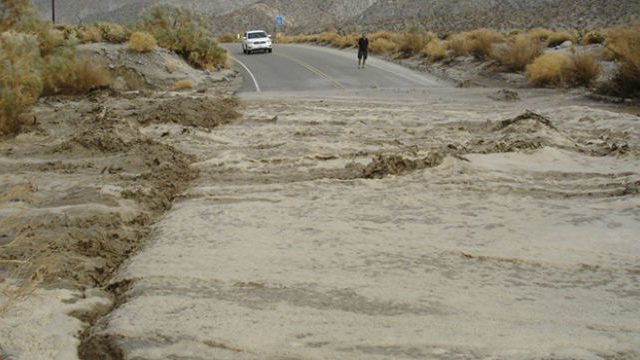 A flash flood washes over Highway 78 in San Diego County. NOAA photo