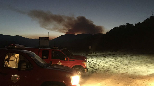 Smoke rises from the brush fire near Holy Jim Canyon. Courtesy OCFA