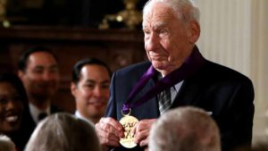Comedian, actor and director Mel Brooks shows off his 2015 National Medal of Arts after receiving it from  President Obama at the White House in Washington, U.S., September 22, 2016.  Photo by Gary Cameron via Reuters