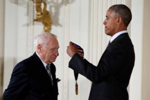 President Obama awards the 2015 National Medal of Arts to comedian, actor and director Mel Brooks at the White House.   Photo by Gary Cameron via Reuters
