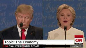 Hillary Clinton and Donald Trump in the third 2016 presidential debate. Image from CNN broadcast
