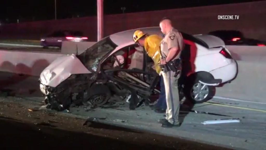 The fatal crash took place on the southbound 5 Freeway, just north of the interchange to the Hollywood (170) Freeway. Photo: OnSceneTV/Rick
