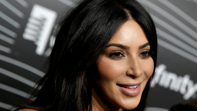 Kim Kardashian West participates in a television interview as she arrives for the 20th Annual Webby Awards. REUTERS