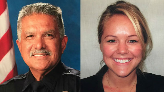 Ambushed Palm Springs officers Jose Gilbert Vega and Lesley Zerebny. Courtesy Palm Springs Police Department