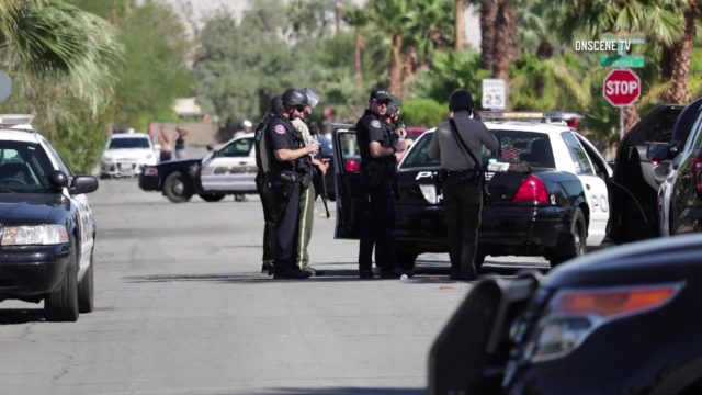 The tragic scene this past weekend when two Palm Springs police officers died and another was injured in a shooting. Photo via OnScene.TV.