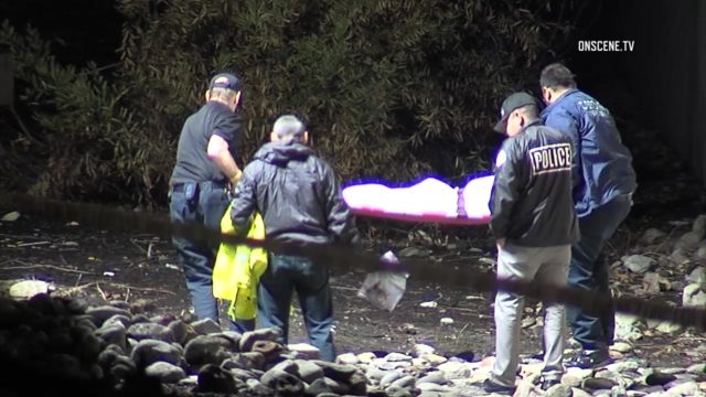 Human remains were found Monday near an on-ramp to the San Bernardino (10) Freeway in Claremont. Photo via OnScene.TV.
