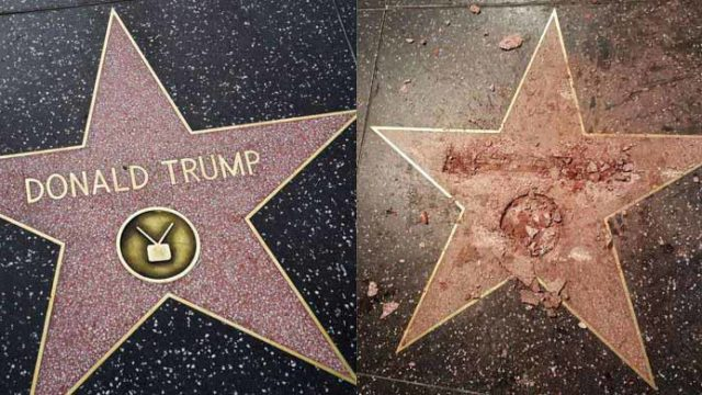 Trump star on Hollywood Walk of Fame before and after vandalism. Image via geo.tv