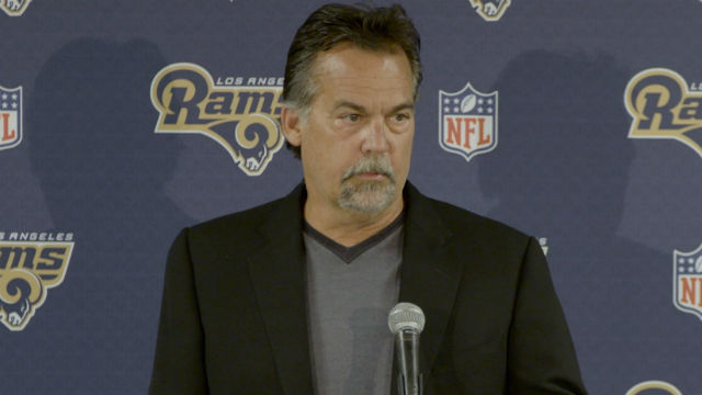 File image of Rams Coach Jeff Fisher at a press conference. Courtesy Los Angeles Rams