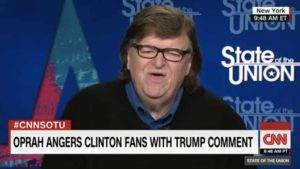 "Michael Moore on CNN's ""State of the Union"" show. Image via YouTube.com"