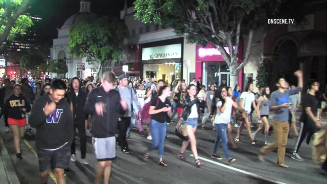 Students protesting Trump victory on UCLA campus. Photo courtesy OnScene.TV