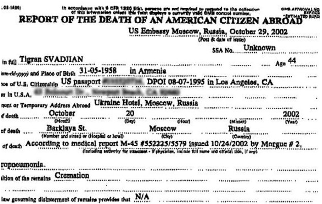 The death report of Tigran Svadjian.