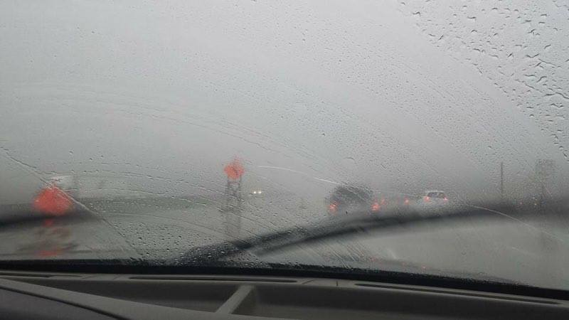 Strong winds, wet conditions slowing homebound Cajon Pass