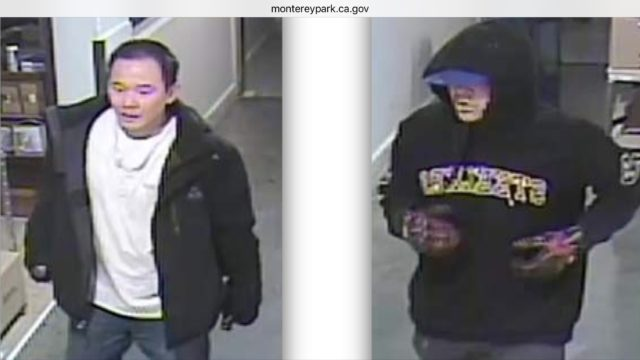 The two unknown suspects wanted in the Cognac theft. Photo courtesy MPPD