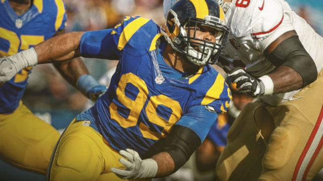 Defensive tackle Aaron Donald. Courtesy Los Angeles Rams Twitter feed