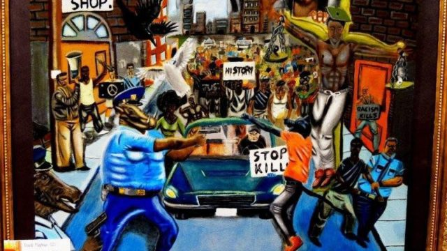 """This is the painting outraged law enforcement officials want removed from the Capitol.  An Acrylic painting by David Pulphus when he was a student at Cardinal Ritter College Prep high school is stirring up controversy after its display in the U.S. Capitol in Washington.  The painting, ""Untitled #1,"" in May had won an annual contest sponsored by U.S. Re. William ""Lacy"" Clay, D-St. Louis. It is a symbolic representation of injustice, inequality, and the unrest in Ferguson, and, among other things, depicts police officers as animals. Photo courtesy Office of Lacy Clay"