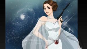 Carrie Fisher as princess on petition. Image by J.L. Moses 990031 via deviantart.com