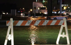 Flooded roadway in Los Angeles