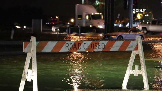 Flooding on a Los Angeles-area roadway. Courtesy OnScene.TV