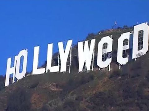 Hollywood sign transformed by pranksters to read Hollyweed.