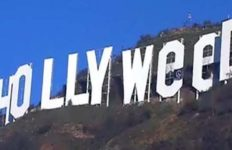 The Hollywood sign, modified. The use of recreational marijuana became legal throughout California on January 1, 2018.