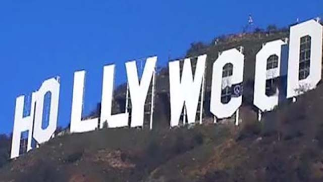 Hollywood sign becomes Hollyweed
