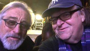 Robert De Niro with Michael Moore at New York protest. Photo via Twitter