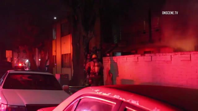 One person was killed Sunday in a fire at a two-story apartment building in Long Beach, authorities said. Photo via OnScene.TV.