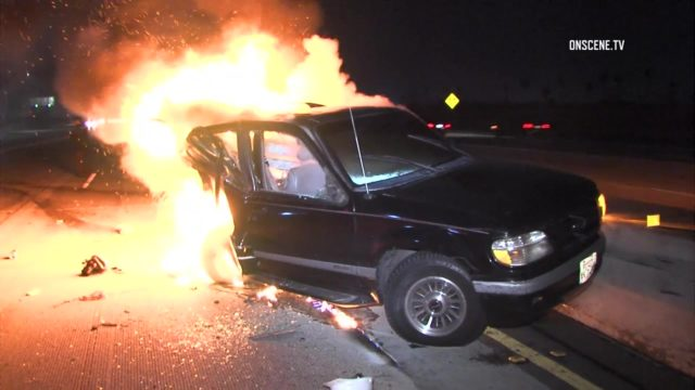 A videographer who was on the scene of an accident on the Harbor (110) Freeway in South Los Angeles early this morning pulled a man from a burning car and helped save his life, according to Fox 11 News. Photo via OnScene.TV.