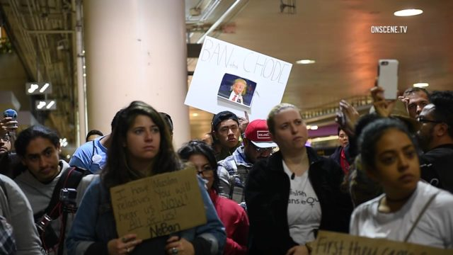 A smaller group of protestors gathered at the Tom Bradley International terminal late Monday night. Photo via OnScene.TV/