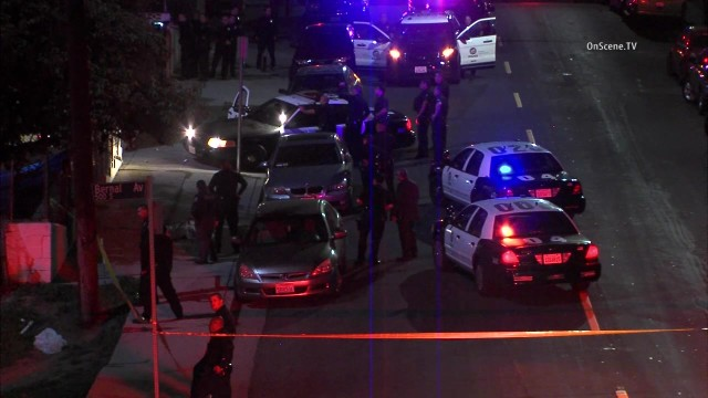 File photo of the Feb. 6, 2016 shooting of Jose Mendez by LAPD officers in Boyle Heights. Image: OnSceneTV