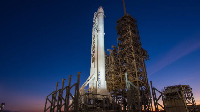 The SpaceX Falcon 9 rocket on the launch pad. Courtesy SpaceX