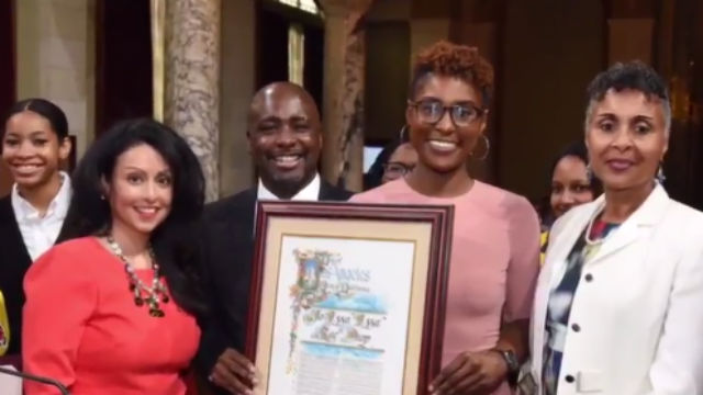 Issa Rae is presented a proclamation at City Hall. Photo by Councilman Marqueece Harris-Dawson twitter feed