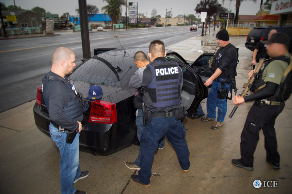 U.S. Immigration and Customs Enforcement officers detain a suspect as they conduct a targeted enforcement operation in Los Angeles. Photo by Charles Reed/U.S. Immigration and Customs Enforcement via REUTERS