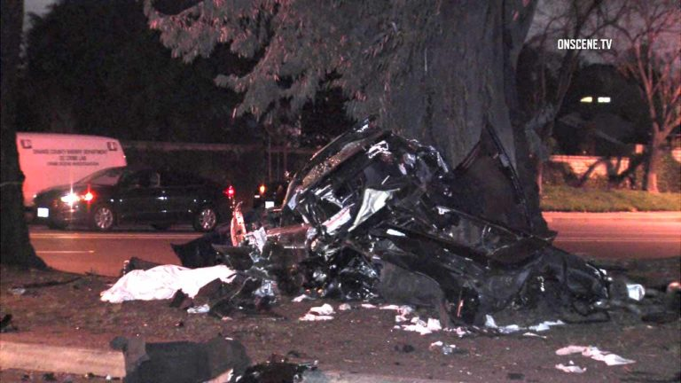 A man who was driving a suspected stolen Corvette died when the car collided with another vehicle in Lake Forest. Photo via OnScene.TV.