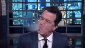"""Stephen Colbert speaks to """"Trump's face"""" on """"The Late Show."""" Image via YouTube.com"""