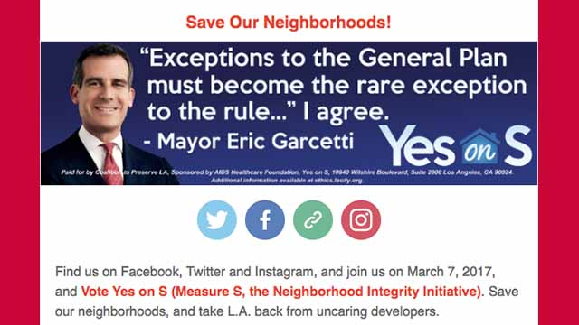 "Portion of ""Yes on S"" email featuring Mayor Eric Garcetti."