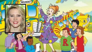 "Kate McKinnon (inset) with ""Magic School Bus"" image via Scholastic"