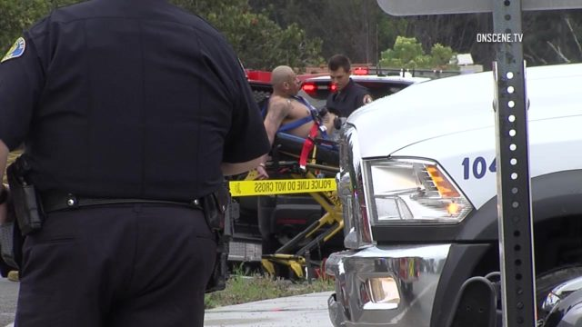 Three people were wounded Monday in an officer-involved shooting in Whittier. Photo via OnScene.TV.