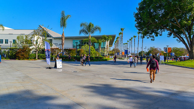California State University, Fullerton, Welcome Day, April 11, 2015 Walking up to Student Rec Center. Photo by Jack Miller via Flickr