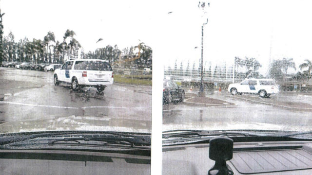 Photos of the ICE vehicle at the Crystal Cathedral released by Rep. Lou Correa.