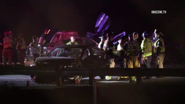 Crews on scene of a multi-vehicle crash on the eastbound 91 Freeway in Corona, March 19, 2017. Photo: OnSceneTV