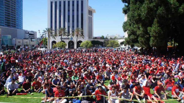 Los Angeles crowd watches World Cup soccer match in 2014. Photo via wbur.org
