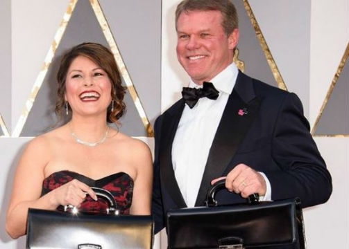 Martha Ruiz and Brian Cullinan. Photo via the Academy of Motion Picture Arts and Sciences @theacademy Instagram