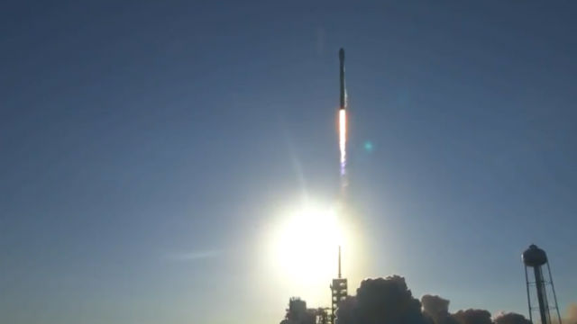 A reused Falcon 9 rocket seconds after liftoff from Cape Canaveral. Image from video