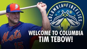 Columbia Fireflies graphic announcing Tim Tebow coming to team. Image via Twitter