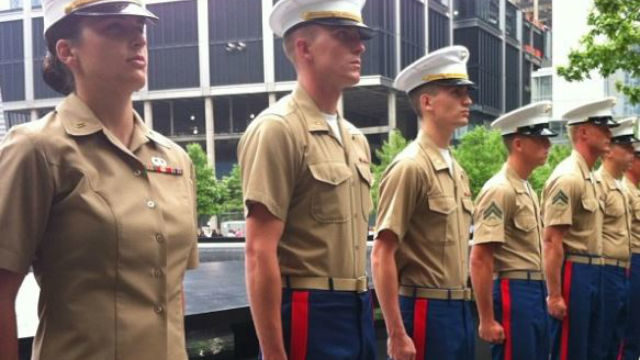 A group of Marines get promoted at the 9/11 Memorial. Phot via official Marines instagram page