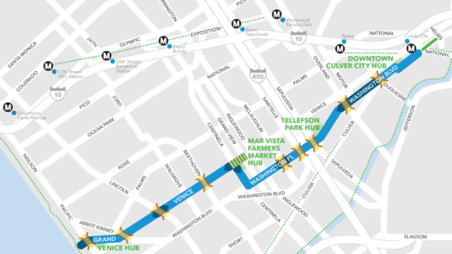 The blue on the map indicates Sunday's street closures. Photo: CICLAVIA